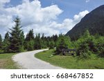 a trail in the foot of the... | Shutterstock . vector #668467852