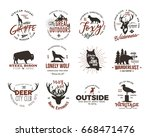 wild animal badges set and... | Shutterstock . vector #668471476