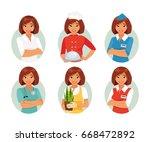 set of different female... | Shutterstock .eps vector #668472892