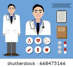 happy friendly white doctor and ... | Shutterstock .eps vector #668475166