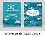 two cards for wedding with... | Shutterstock .eps vector #668481415