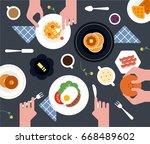 food table top view vector... | Shutterstock .eps vector #668489602