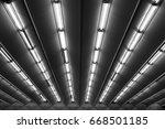 fluorescent lamps line  view of ...   Shutterstock . vector #668501185
