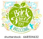 back to school poster with... | Shutterstock .eps vector #668504632