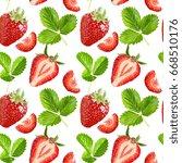seamless vector strawberries... | Shutterstock .eps vector #668510176