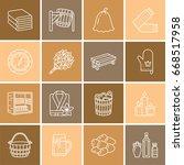 steam bath line icons. bathroom ... | Shutterstock .eps vector #668517958