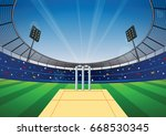 cricket field with bright... | Shutterstock .eps vector #668530345