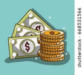 bills and coins commerce... | Shutterstock .eps vector #668531566