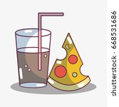 refreshment glass with slice of ... | Shutterstock .eps vector #668531686