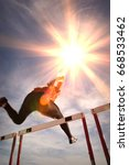 runner jumping over running...   Shutterstock . vector #668533462