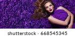 the girl in the petals.... | Shutterstock . vector #668545345