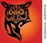 owl tattoo design with orange... | Shutterstock .eps vector #668550136