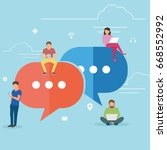 speech bubbles for comment anf... | Shutterstock .eps vector #668552992