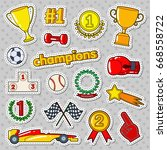 champions doodle with medals ... | Shutterstock .eps vector #668558722