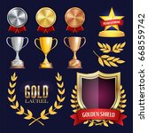 award trophies vector set.... | Shutterstock .eps vector #668559742