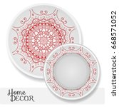 set of 2 matching decorative... | Shutterstock .eps vector #668571052