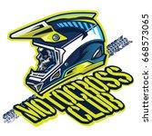 skull of motocross rider | Shutterstock .eps vector #668573065