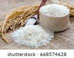 jasmine rice small burlap sack | Shutterstock . vector #668574628