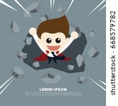 super businessman breaking the... | Shutterstock .eps vector #668579782