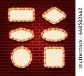 illuminated retro frames set... | Shutterstock .eps vector #668582662