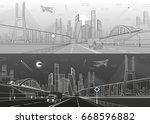 big bridge. wide highway. road... | Shutterstock .eps vector #668596882
