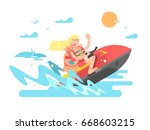couple on hydrocycle | Shutterstock .eps vector #668603215