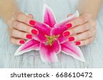 beautiful woman hands with pink ...