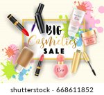 big cosmetics sale web banner ... | Shutterstock .eps vector #668611852