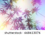 palms perspective view vintage... | Shutterstock . vector #668613076