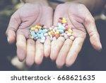 in selective focus  woman... | Shutterstock . vector #668621635