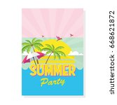 summer flyer or brochure in... | Shutterstock .eps vector #668621872
