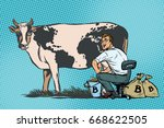 businessman mines bitcoins... | Shutterstock .eps vector #668622505
