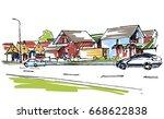 little town sketch | Shutterstock .eps vector #668622838