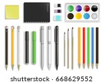 set of different office... | Shutterstock .eps vector #668629552