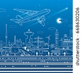 aviation infrastructure.... | Shutterstock .eps vector #668630206