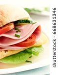 sandwich with ham  vegetables... | Shutterstock . vector #668631346