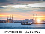 trade port and shipping port | Shutterstock . vector #668635918
