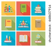A Set Of Book Icons. Flat Styl...