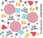 summer pattern. beach umbrellas ... | Shutterstock .eps vector #668638486