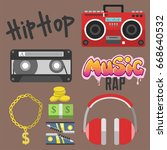 hip hop accessory musician with ...   Shutterstock .eps vector #668640532