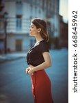 artistic portrait of a woman on ...   Shutterstock . vector #668645962