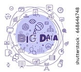 big data concept. outline icon... | Shutterstock .eps vector #668646748