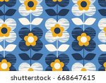 seamless retro pattern with... | Shutterstock .eps vector #668647615