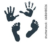 imprint of children s palms and ... | Shutterstock .eps vector #668648026