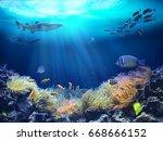 ocean underwater with marine... | Shutterstock . vector #668666152