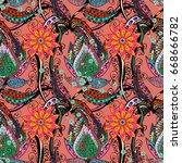 vector abstract flower... | Shutterstock .eps vector #668666782