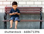small 3 year old toddler boy... | Shutterstock . vector #668671396