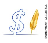 gold  feather pen  draw dollar... | Shutterstock .eps vector #668681566