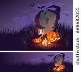 halloween pumpkin and a... | Shutterstock .eps vector #668682055