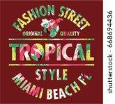 tropical style miami fashion... | Shutterstock .eps vector #668694436